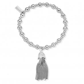 Mini Small Ball Tassel Bracelet in Silver