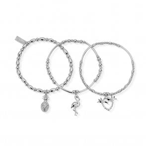Set of 3 Under The Palms Bracelets in Silver
