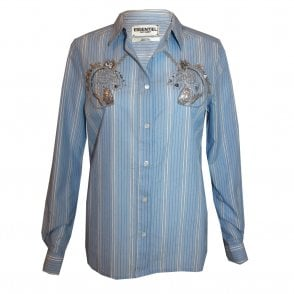 Octavia Unicorn Embellished Shirt in Heron Blue