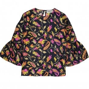 Ridgy Flounced Sleeve Silk Top in Pixel Paisley Navy