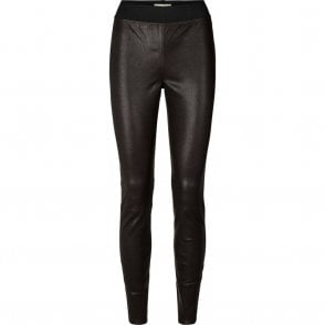 Sally Leather Pants in Bordeaux