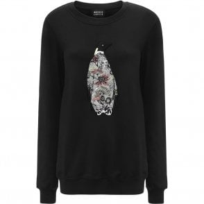 Embroidered Arctic Penguin Anna Sweatshirt in Black