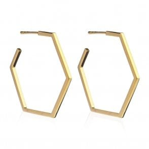 Large Hexagon Hoop Earrings in Gold