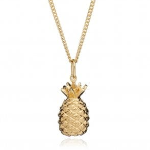 Large Pineapple Pendant on Long Chain in Gold