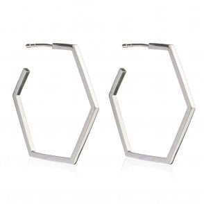 London Large Hexagon Hoop Earrings in Silver