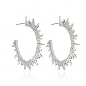 London Sunray Hoop Earrings in Sterling Silver