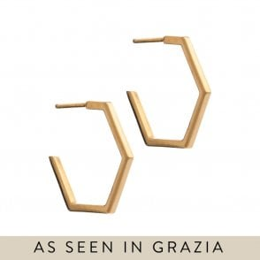 Medium Hexagon Hoop Earrings in Gold