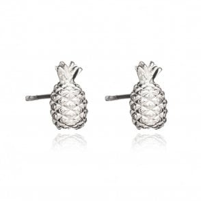 Pineapple Stud Earrings in Silver