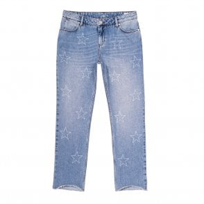 Victor Cropped Straight Leg Jeans in Denim Stars