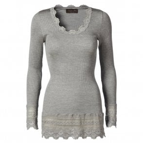 Medium Silk Long Sleeve T-Shirt with Wide Lace in Light Grey Melange