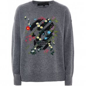 Aji Skull and Floral Cashmere Jumper in Mid Heather Grey and Black