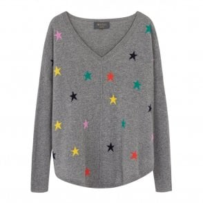 Emilie Multi Star Cashmere Jumper in Grey