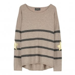 Marielle Gold Star Cashmere Jumper in Taupe and Grey