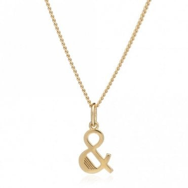 Deco & Letter Necklace in Gold