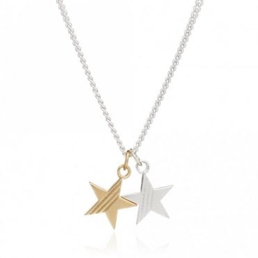 Double Star Mixed Metal Necklace