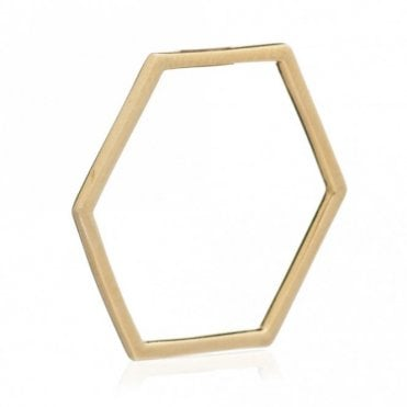 Hexagon Outline Ring in Gold - size N