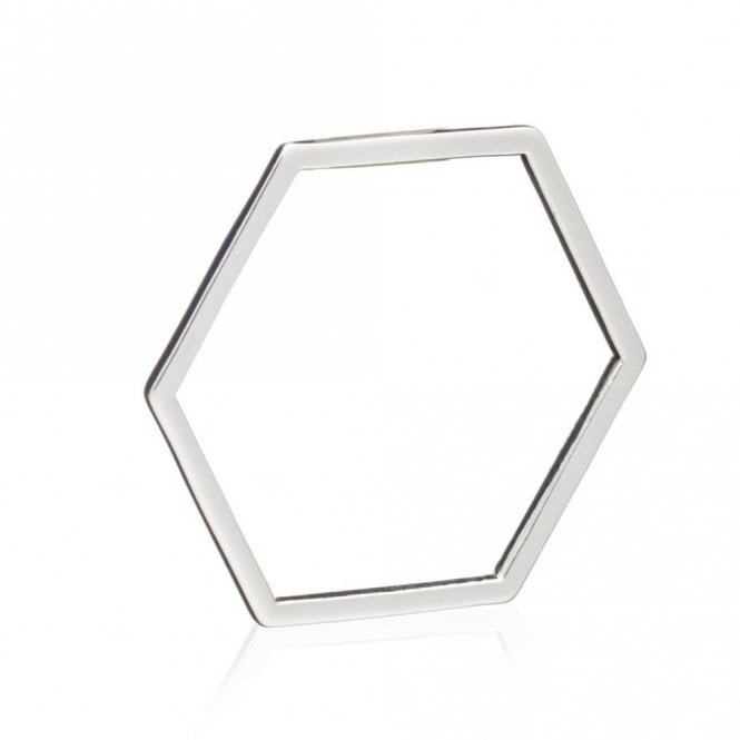 Rachel Jackson London Hexagon Outline Ring in Silver - size N