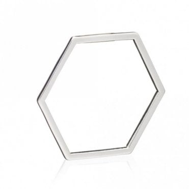 Hexagon Outline Ring in Silver - size N
