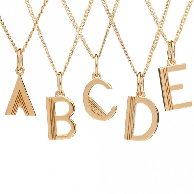 Rachel Jackson London Initial Necklace in Gold Plated Sterling Silver - A