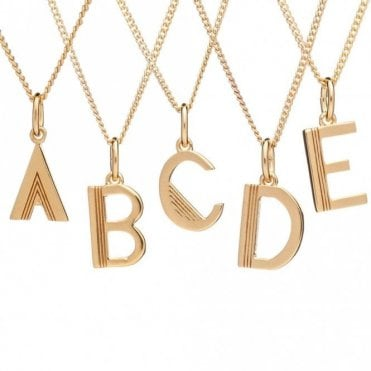 Initial Necklace in Gold Plated Sterling Silver - A