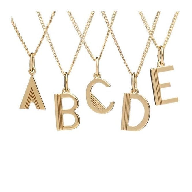 Rachel Jackson London Initial Necklace in Gold Plated Sterling Silver - B