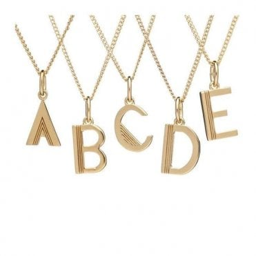 Initial Necklace in Gold Plated Sterling Silver - B