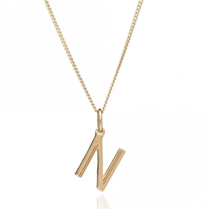 Rachel Jackson London Initial Necklace in Gold Plated Sterling Silver - N