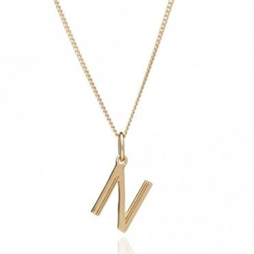 Initial Necklace in Gold Plated Sterling Silver - N