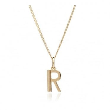 Initial Necklace in Gold Plated Sterling Silver - R