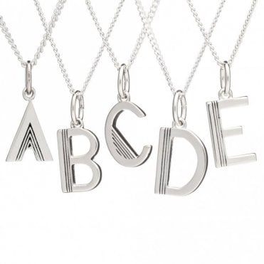 Initial Necklace in Sterling Silver - A