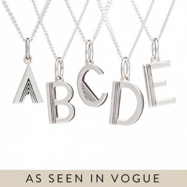 Initial Necklace in Sterling Silver - B