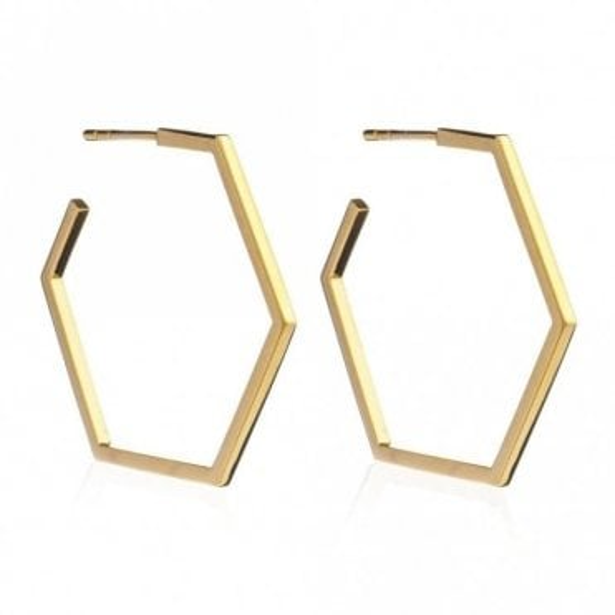 Large Hexagon Hoop Earrings in Gold