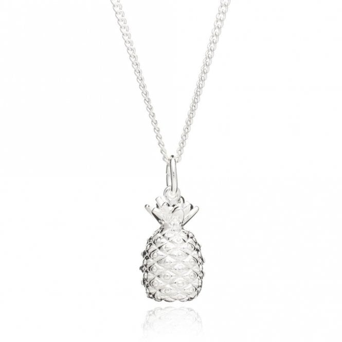 Rachel Jackson London Large Pineapple Pendant Necklace on Long Chain in Silver