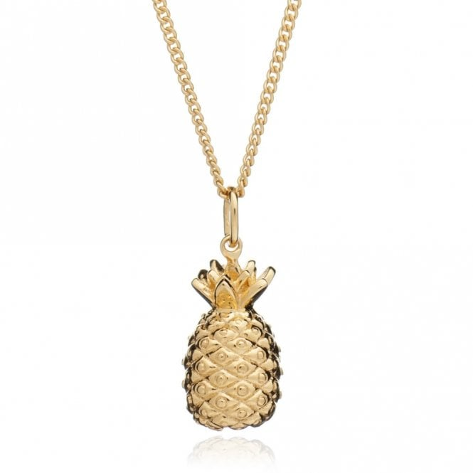 Rachel Jackson London Large Pineapple Pendant on Long Chain in Gold