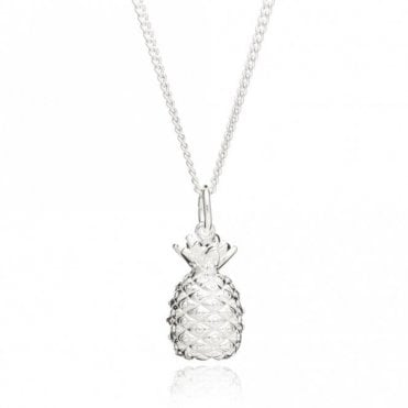 Large Pineapple Pendant on Long Chain in Silver