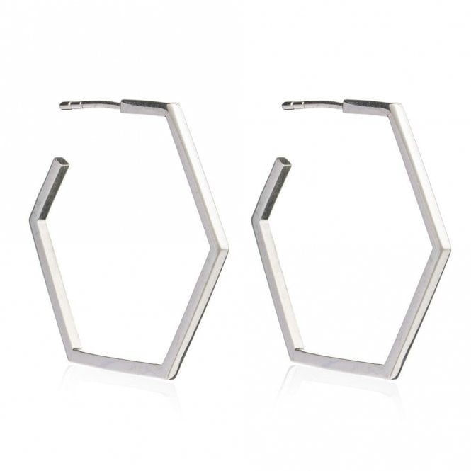 Rachel Jackson London London Large Hexagon Hoop Earrings in Silver