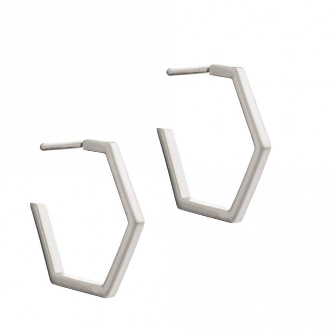 Rachel Jackson London Medium Hexagon Hoop Earrings in Silver