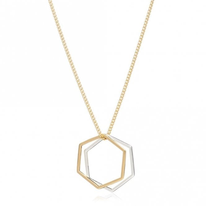 Rachel Jackson London Mixed Metal Hexagon Rings Necklace in Gold