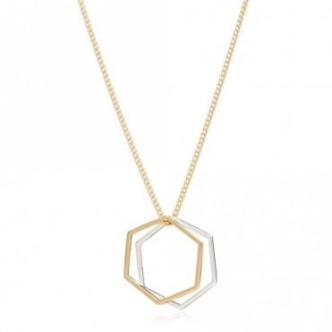 Mixed Metal Hexagon Rings Necklace in Gold