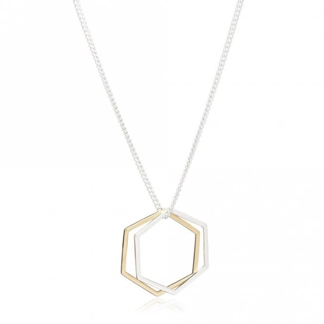 Rachel Jackson London Mixed Metal Hexagon Rings Necklace in Silver