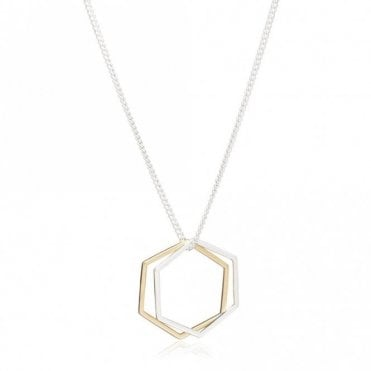 Mixed Metal Hexagon Rings Necklace in Silver