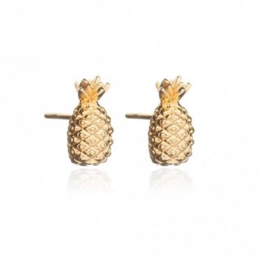 Pineapple Stud Earrings in Gold