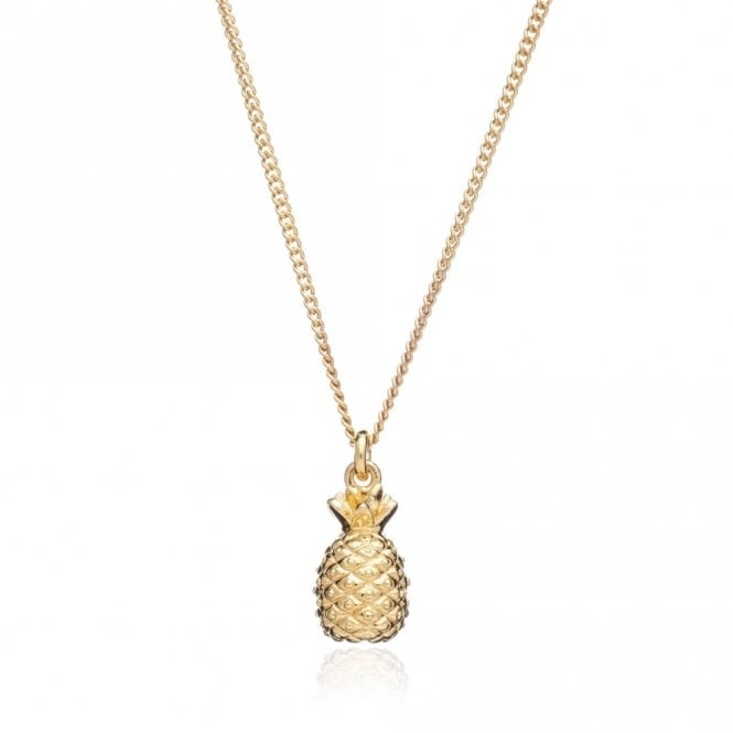Rachel Jackson London Small Pineapple Pendant on Short Chain in Gold