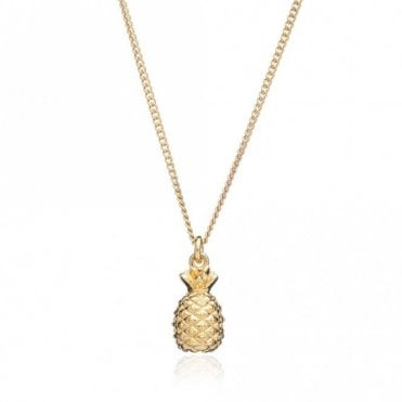 Small Pineapple Pendant on Short Chain in Gold