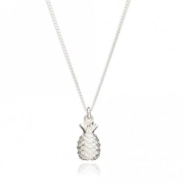 Small Pineapple Pendant on Short Chain in Silver