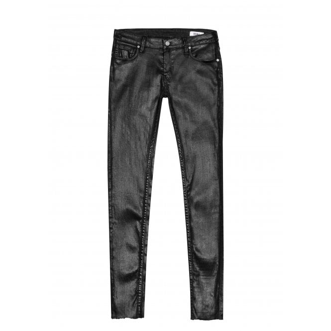 Reiko Lily Enduction Skinny Jeans in Black with Raw Hem