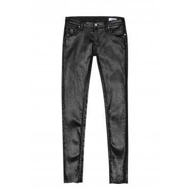 Lily Enduction Skinny Jeans in Black with Raw Hem