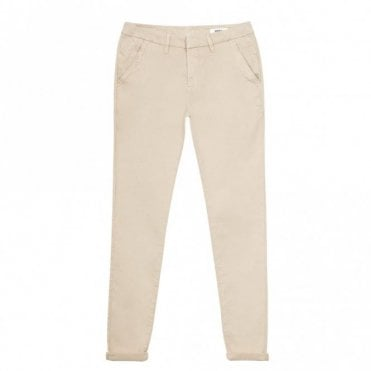 Sandy Basic Chino Trousers in Cream