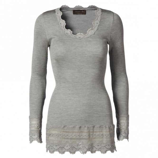 Rosemunde Medium Silk Long Sleeve T-Shirt with Wide Lace in Light Grey Melange