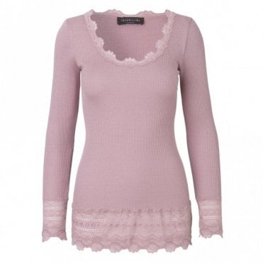 Medium Silk  Long Sleeve T-Shirt with Wide Lace in Woodrose